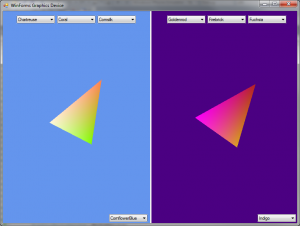 A modified version of the WinForms Series demo using two SpinningTriangleControls.