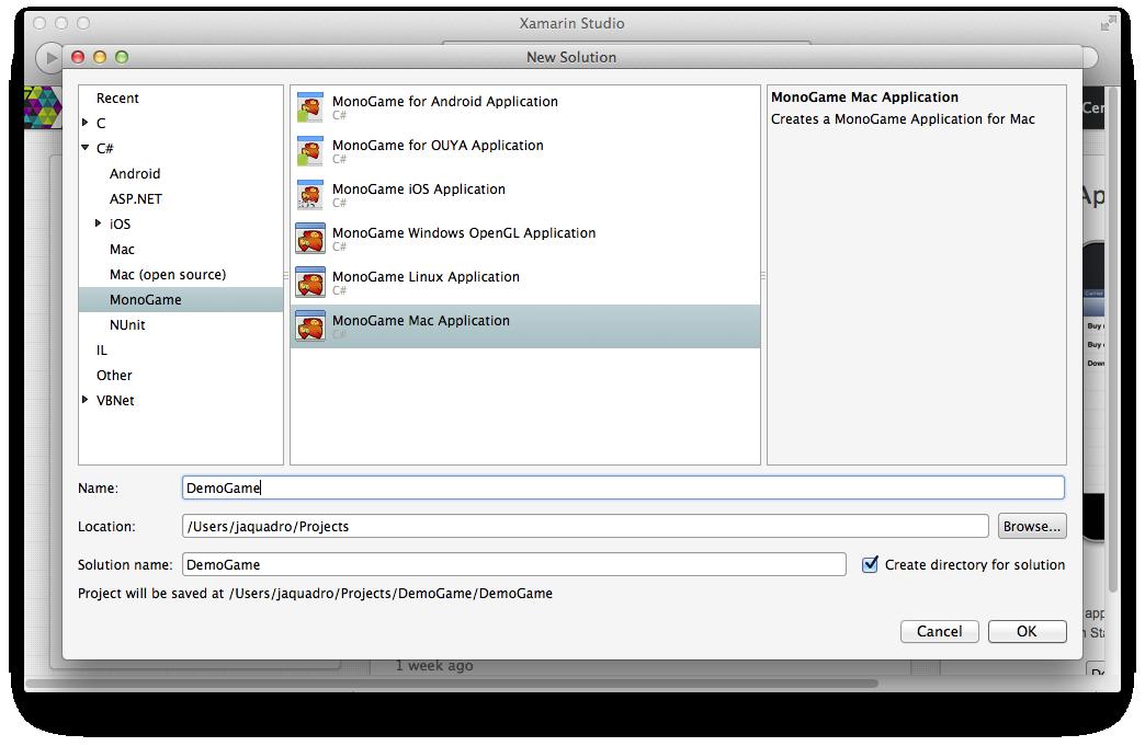 "MonoGame ""Hello World"" on Mac OS X and Xamarin Studio"